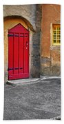 Red Door And Yellow Windows Hand Towel