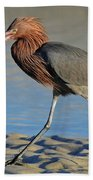 Red Egret With Fish Bath Towel