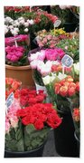 Red Flowers In French Flower Market Bath Towel