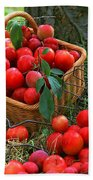 Red Fresh Plums In The Basket Bath Towel