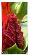 Red Hibiscus Torch Bath Towel