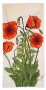 Red Poppies Watercolor Painting Bath Towel