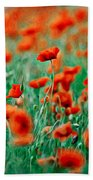 Red Poppy Flowers 04 Hand Towel by Nailia Schwarz