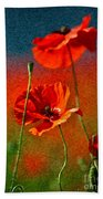 Red Poppy Flowers 08 Bath Towel by Nailia Schwarz