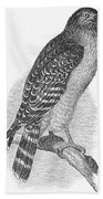 Red-shouldered Hawk, 1890 Bath Towel