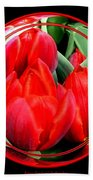 Red Tulips Under Glass Bath Towel