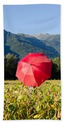 Red Umbrella On The Field Bath Towel