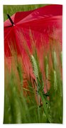 Red Umbrella On The Wheat Field Bath Towel