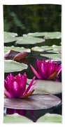 Red Water Lillies Bath Towel