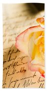 Red Yellow Rose Over A Hand Written Letter Bath Towel