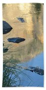 Reflecting Peaks In The Merced River Bath Towel