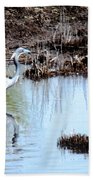 Reflections Of A Blue Heron Bath Towel