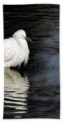 Reflections Of An Egret  Bath Towel