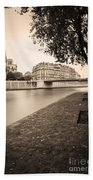 River Seine And Cathedral Notre Dame Bath Towel