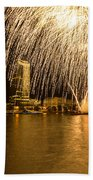 River Thames Fireworks Bath Towel