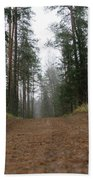 Road In A Pine Grove Bath Towel