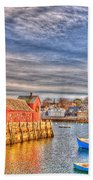 Rockport Water Color - Greeting Card Bath Towel