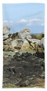 Rocks At Low Tide Iles Chausey Bath Towel
