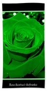 Rose With Green Coloring Added Bath Towel