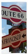 Route 66 Street Sign Bath Towel