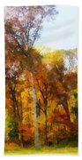 Row Of Autumn Trees Bath Towel