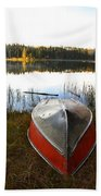 Rowboats At Jade Lake In Northern Saskatchewan Bath Towel