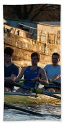 Rowers At Sunset Hand Towel