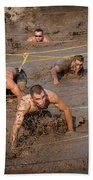 Runners Navigate An Obstacle Course Bath Towel