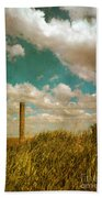 Rural Barbed Wire Fence Bath Towel