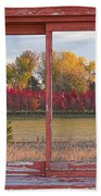 Rural Country Autumn Scenic Window View Bath Towel