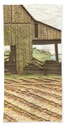 Rustic Barn And Field Rows Bath Towel