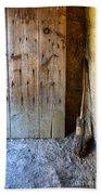Rustic Door And Broom Bath Towel
