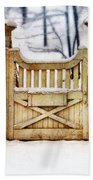 Rustic Wooden Gate In Snow Bath Towel