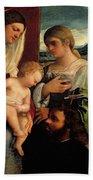 Sacra Conversatione With Ss Catherine Sebastian And Holy Family Bath Towel
