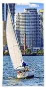 Sailboat In Toronto Harbor Bath Towel