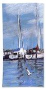 Sailboats And Seagulls Bath Towel