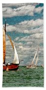 Sailboats In The Netherlands By The Zuiderzee Bath Towel