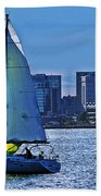 Sailing On Boston Harbor Bath Towel