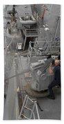 Sailors Fire A Mark 38 Machine Gun Bath Towel