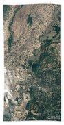 Satellite Image Of Flood Waters Bath Towel