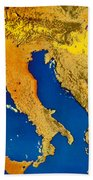 Satellite Image Of Italy Bath Towel