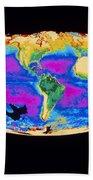 Satellite Image Of The Earths Biosphere Bath Towel