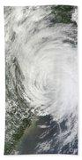 Satellite Image Of Tropical Storm Muifa Bath Towel