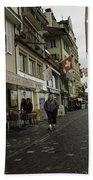 Seated In The Cafe Along The River In Lucerne In Switzerland Bath Towel