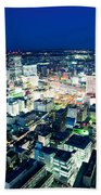 Sendai Train Station By Night Bath Towel