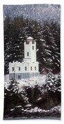 Sentinel Island Lighthouse In The Snow Bath Towel