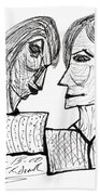 She And He Pen And Ink 2000 Bath Towel