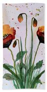 Shining Red Poppies Watercolor Painting Bath Towel