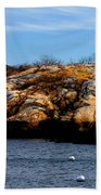 Rockport Shore Rocks - Greeting Card Bath Towel
