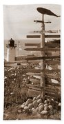 Sign At Point Montara Lighthouse - Sepia Bath Towel